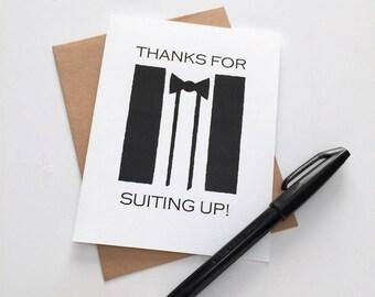 Groomsmen Thank You - Groomsman Thanks - Best Man Card - Groomsman Gift - Best Man Gift - Thanks for Suiting Up
