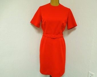 VINTAGE:  Richard Harwood Dallas Red Vintage Dress / Vintage Dress / Red Dress.{H1-243#00909}
