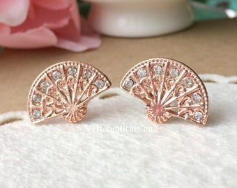 Fan Earrings - Japanese Jewelry - Geisha - Fan Jewelry - Pink Gold - Rhinestones - Dainty Jewelry - Gift for her - Mother Gift - Sister Gift