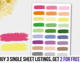 Stroke Stickers,  Paint Stroke Planner Stickers, Stroke Stickers Erin Condren, MAMBI Happy Planner,Decorative Headers, Decorative Labels
