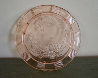 Vintage Sharon Pink Cabbage Rose Cake Plate