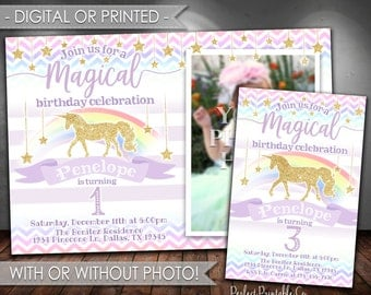 Unicorn Birthday Invitation, Unicorn Invitation, Unicorn Invite, Unicorn Party Invitation, Horse, Pony, Purple, Gold Glitter, Rainbow, #486