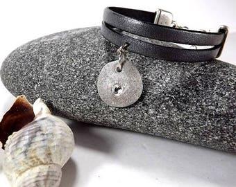 Leather bracelet with Swarovski and Baltic beach stone. Zamak alloy. Leather bracelet with stone pendant. Jewellry from Latvia