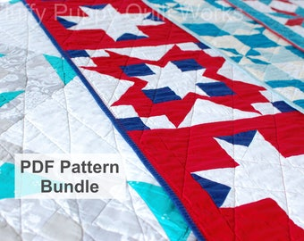 PDF Quilt Pattern Bundle, Table Runner Sewing Pattern, Digital Download Quilting Pattern, Instant Download Table Decor Pattern Bundle