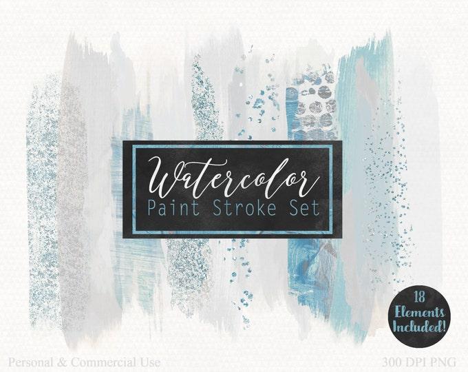 WATERCOLOR BRUSH STROKES Clipart Commercial Use Clip Art Watercolor Paint Blog Header Silver & Blue Confetti Watercolor Texture Logo Clipart