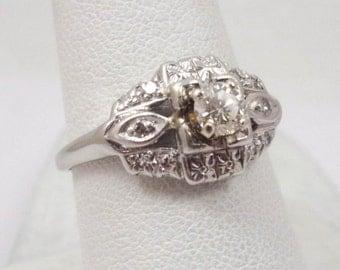 1,575 0.33 Carat Solid .900 Platinum Diamond Ring, Size 8, 3.9 grams 1960s