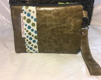 Olive green leather wristlet set