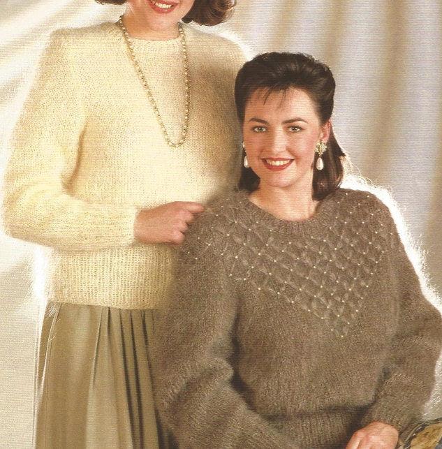 d0361715601800 knit Womans Sweater pdf Plus Size pullover Plain and Beaded jumper sweater  tunic vintage pattern instant download pdf from OhhhMama on Etsy Studio