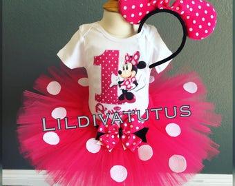 Handmade pink minnie mouse tutu set