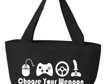 Recycled Cooler Bag Lunch Bag Lunch Tote Insulated Lunch Tote Choose Your Weapon Nerd Geek Gamer