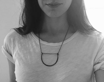 Black Curve Necklace on Chain, Sterling Silver, Oxidized, Hammered, Forged, Handmade