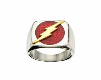 Flash Signet Thunder Lightning Gold Plated Wedding Band Ring