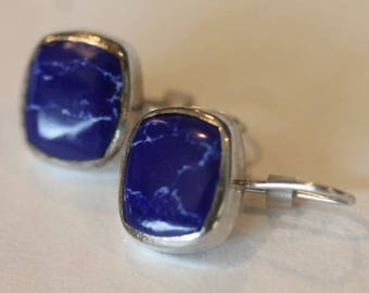 ATI Mexic sterling silver mottled blue white color stone hook earrings