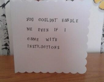 Funny Card, Cheeky Card, Stamped Card, Blank Card, Birthday Card, Greeting Card