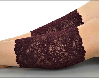 lace boot cuffs Womens lace cuffs Stretch lace socks Plum Sangria Burgundy Lace Boots Blueberry Cuffs Over the boot socks Cuffs Lace Boot