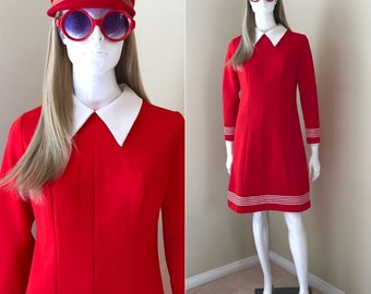 60's MOD Dress Fire Engine Red Polyester Dress with Tags Groovy 1960's Dress Red and White Shift Dress- size Small
