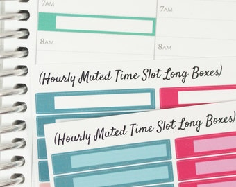 48 Time Slot Long Box Muted Color HOURLY Planner Stickers (NF472) High Gloss, Semi-Gloss, Matte Planner Stick