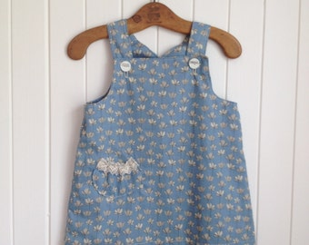 18 mths Toddlers summer dress overall style soft cotton. Vintage lace pocket trim