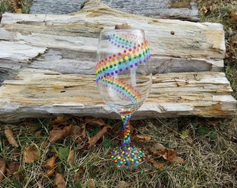 Rainbow swirled polka dot wine glass, Rainbow swirl polka dot wine glass, rainbow polka dot wine glass, rainbow wine glass