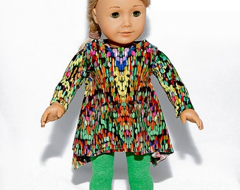 American made Girl Doll Clothes, 18 inch Doll Clothing, Twirly Tunic with Leggings made to fit like American girl doll clothes