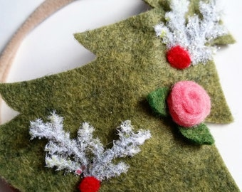 Christmas Tree Headband - Felt Christmas Tree - Mistletoe - Decorative Christmas Tree - Baby's 1st Christmas