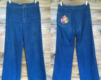 G. Guebelli Jeans with Floral Embroidery on back pocket.
