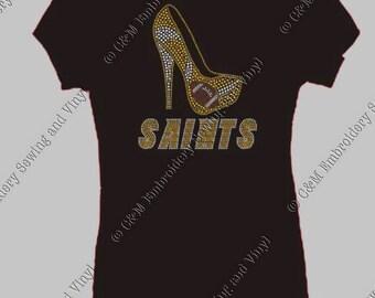 Saints High Heel Rhinestone Ladies T-Shirt, Personalized T-Shirt, Women's T-shirt,  Ladies Tee