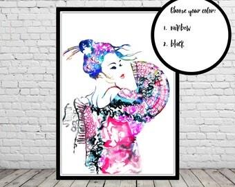 Geisha with fan, Geisha and fan, watercolor Geisha, fan, watercolor fan, fashion Illustration, woman, watercolor woman (3129b)