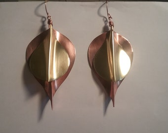 Copper and Brass Teardrop Earrings