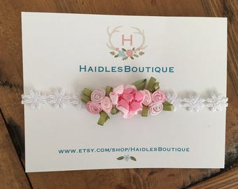 Flower baby headband, elastic, pink flowers, baby girl, headband