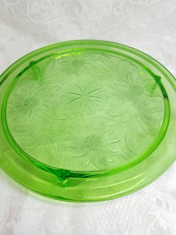Like this item? & Vintage Green Glass Cake Plate 1930s Jeanette Co Sunflower