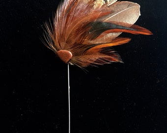 Ringneck Pheasant feather & Rooster Hackle vintage style stickpin with Goldstone, brown/rust-feather brooch, lapel pin, hat pin