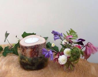 Felted moss effect Birch bud vase or Tea light holder/ Rustic wedding/ Woodland bud vase/ Branch bud vase.