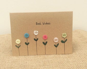 Button greetings card with pretty floral design