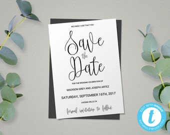 Diy save the date etsy script save the date template save the date card wedding template diy save the junglespirit Image collections