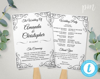 Vintage Wedding Program Fan Template, Fan Wedding Program Template, Instant Download, Ceremony Program