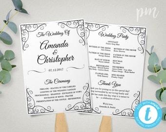Vintage Wedding Program Fan Template, Fan Wedding Program Template, Instant Download, Ceremony Program