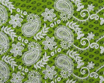 "Olive Green Fabric, Paisley Embroidery, Designer Fabric, Craft Fabric, Home Decor, 40"" Inch Cotton Fabric By The Yard ZBC7711A"