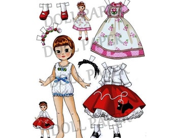 1960 s Glamour Paper Doll Digital Collage Sheets - Printable vintage dress up doll with lots of clothes