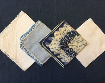 FOUR Blue Hankies, LOT of 4, Vintage Bridesmaids' Handkerchiefs Gifts Bridal Party Gift Wedding Handkerchief Bridesmaids Hankie
