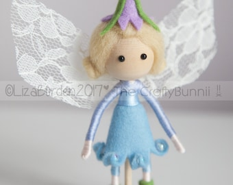 Spring Bluebell Fairy Doll Woodland Flower Fairy Doll with Lace Wings Fantasy Fairy Festival Collectors Bendy Art Doll Fairy Gift Fairy Doll