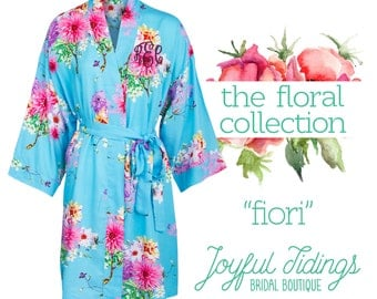 Personalized Fiori Floral Robes, Bridesmaid Gift, Bridal Party Robes, Set of Bridesmaids Robe, Wedding Robe, Bridal Robe Gown