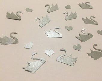 Confetti   Swans   Hearts   Shiny   Silver   Gold   Cardstock   Wedding   Babyshower   Decoration   Supplies   Die cut