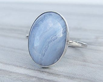 Gemstone Ring Blue Lace Agate - Sterling Silver Rings for Women - Silver Statement Ring Boho Ring - Hammered Silver Ring for Her