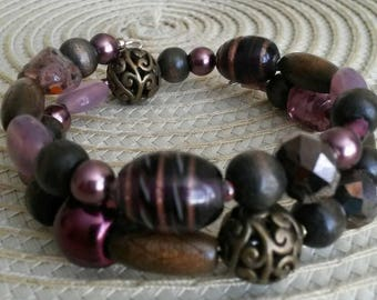 Purple and brown beaded bracelet
