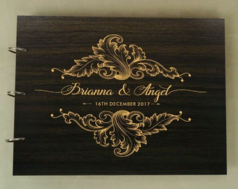 Wood Engraved Sign in Book, Rustic Wedding Guestbook, Custom Wedding Guest Book, Personalized Scrapbook, Bridal Shower Gift PGB30