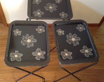 HOLD for Leah----Vintage TV Trays, Serving Stand, Metal Serving Tray, Mic Century Modern Metal Trays