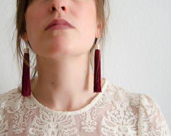 tassel earrings / long earrings / statement earrings / dark red earrings / bold earrings / lightweight earrings / maroon earrings / earrings