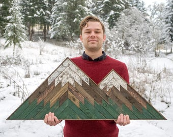 Wood Mosaic Double Peak Mountain Art