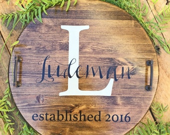 Personalized Serving Tray, Personalized Wood Serving Tray, Housewarming Gift, Wedding Gift, Wedding Shower Gift, Rustic Tray, Serving Tray
